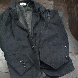 Boys textured blazer and vest dark gray 5 6 EUC